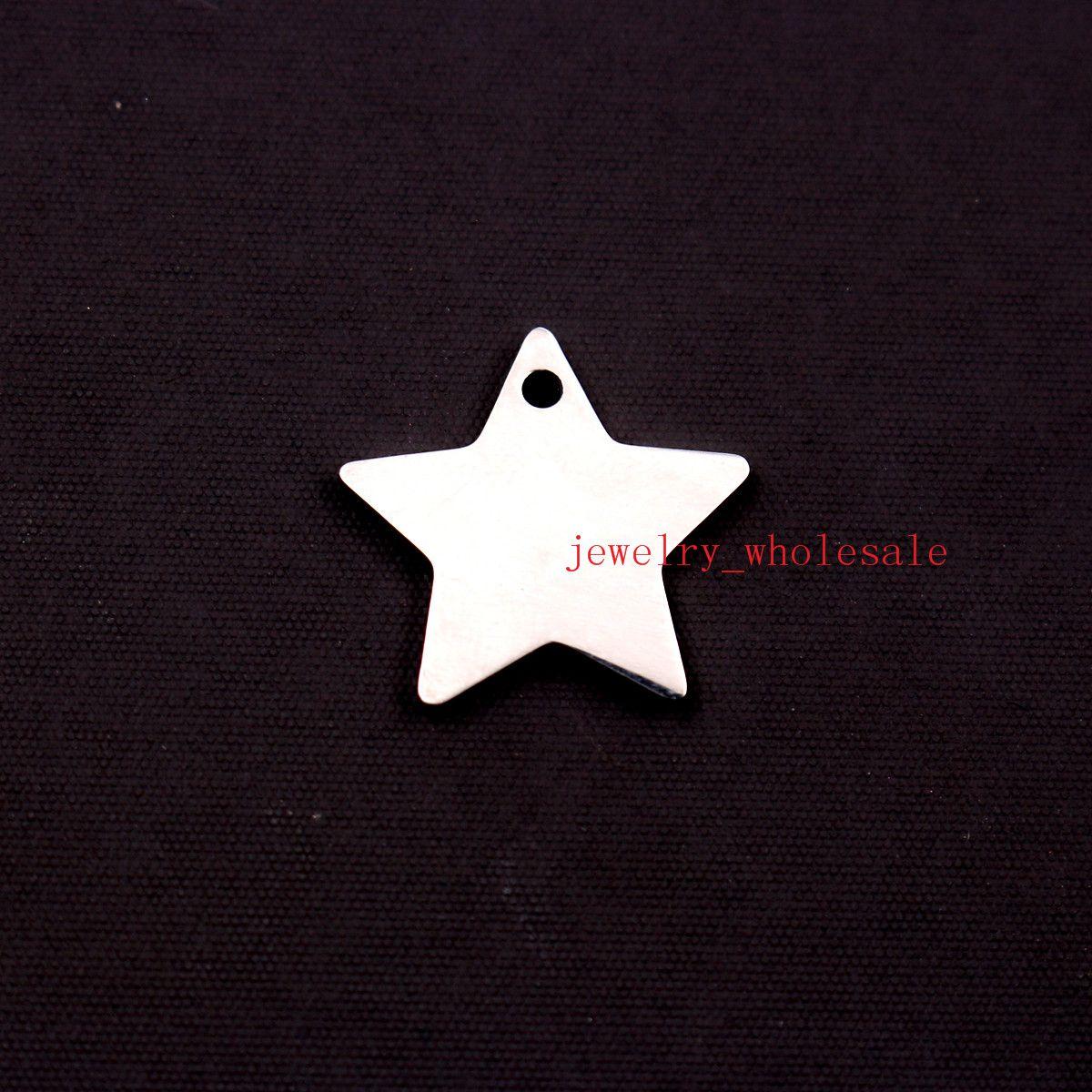 판매 / 브랜드 새로운 부드러운 18mm 스타 펜던트 스테인레스 스틸 은색 톤 패션 태그 매력 쥬얼리 DIY 높은 광택 둘 다 광택