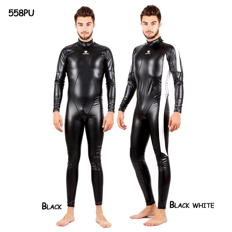HXBY Tam Vücut PU Su Geçirmez Tek Parça Takım Elbise Mayo Kadın Erkek Uzun Kollu Arena Rekabetçi Yüzme Mayo Sıcak Bodysuit