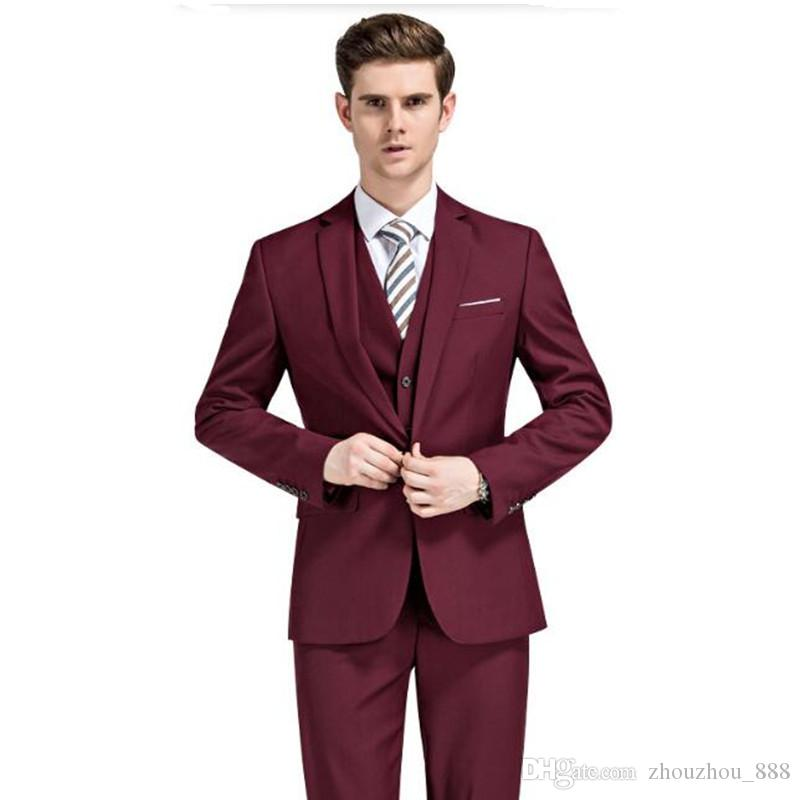 Men Wedding Suits White Groom Tuxedos For Men Slim Fit Men Dress Suits Royal Blue Burgundy custom made Prom Suits