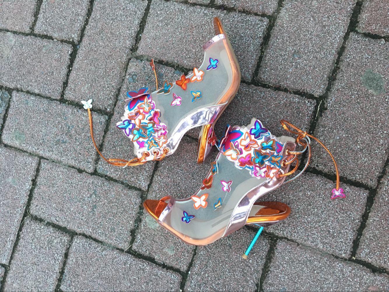 2017 صوفيا ويبستر الوئام شبكة 3d فراشة bootie حذاء روزا / الفيروز / أورانج عالية الكعب المرأة الصيف اللمحة تو الصنادل الأحذية