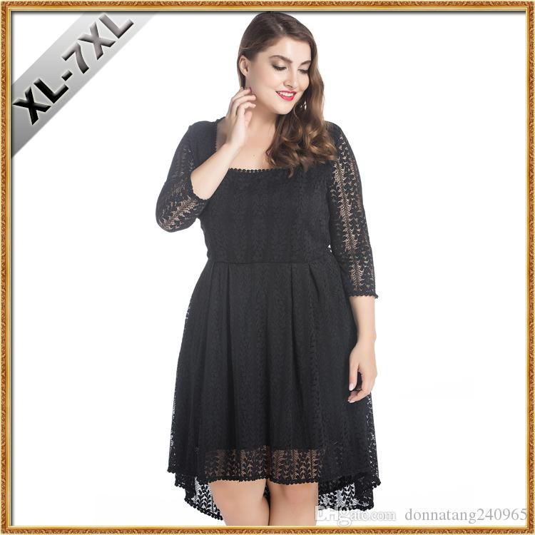 2018 2017 New Plus Size Lace Dress For Women Oversize Clothes Fat