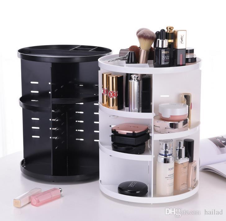 2018 Rotating Makeup Organizer Brush Holder Plastic Rack Shelf Desktop Skincare 360 Degree Jewelry Storage Box From Hailad 33 0 Dhgate
