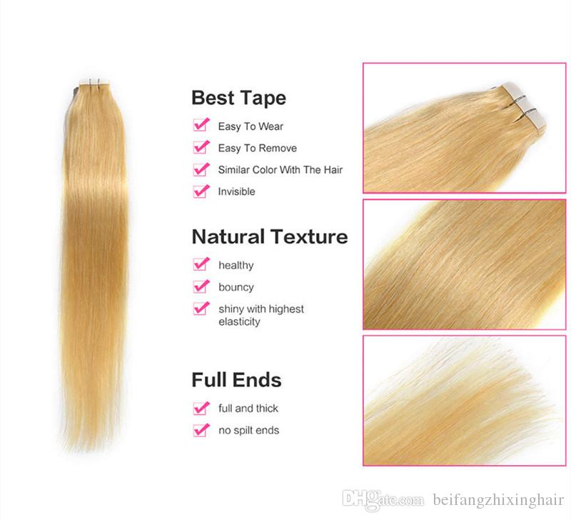 Grade 8a Double Drawn Tape In Hair Extension With Blonde Color 613