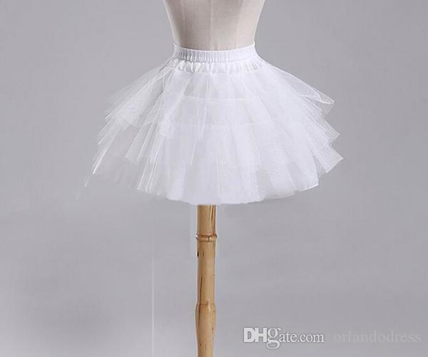2017 الأطفال التنورات الداخلية اكسسوارات الزفاف 3 طبقات Hoopless قصيرة قماش قطني أبيض زهرة فتاة اللباس طفل الأميرة تحتية