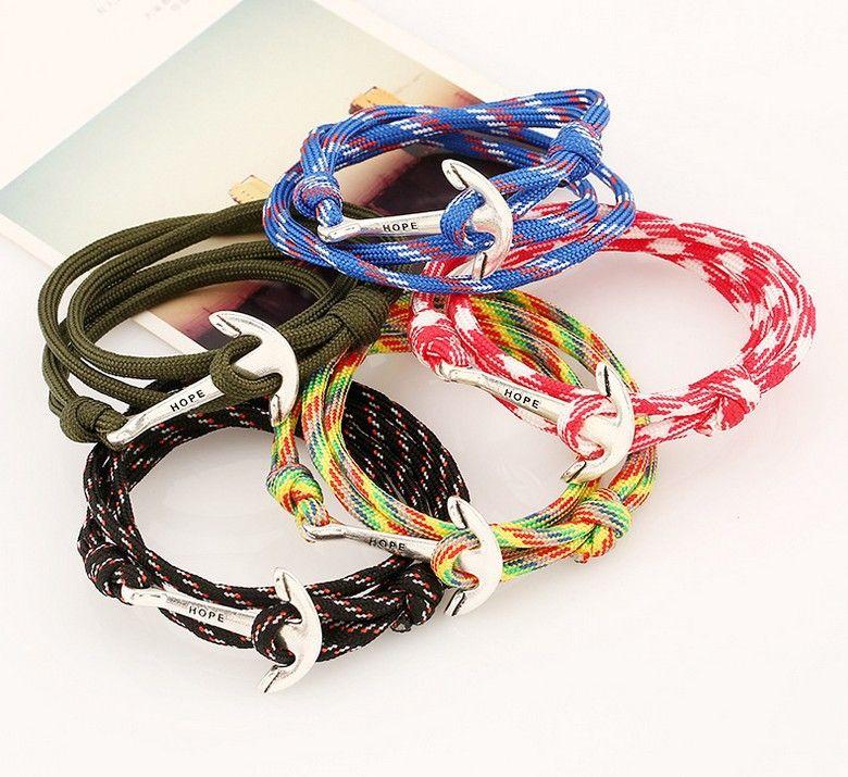 En gros-Nouveau Unique Wrap Argent Espoir Nautique Ancre Réglable À La Main Corde Bracelets Bracelets Bijoux Navire Libre