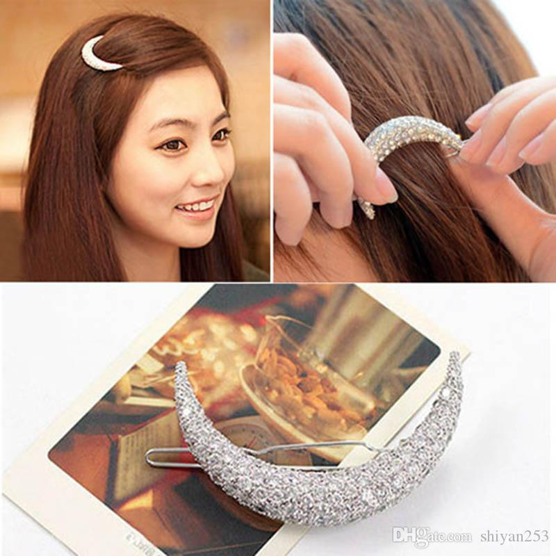 2017 New Newest Crystal Moon Rhinestone Hair Accessories For Women,Hair Clips For Girls Headdress Hairpin Clamps