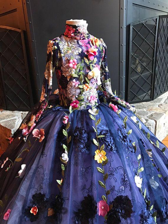 2017 Pretty Fairty Flower Girls Dress Cuello alto de manga larga 3D Floral Apliques Girls Vestidos del desfile Lovely Hand Made Flowers Birthday Dress