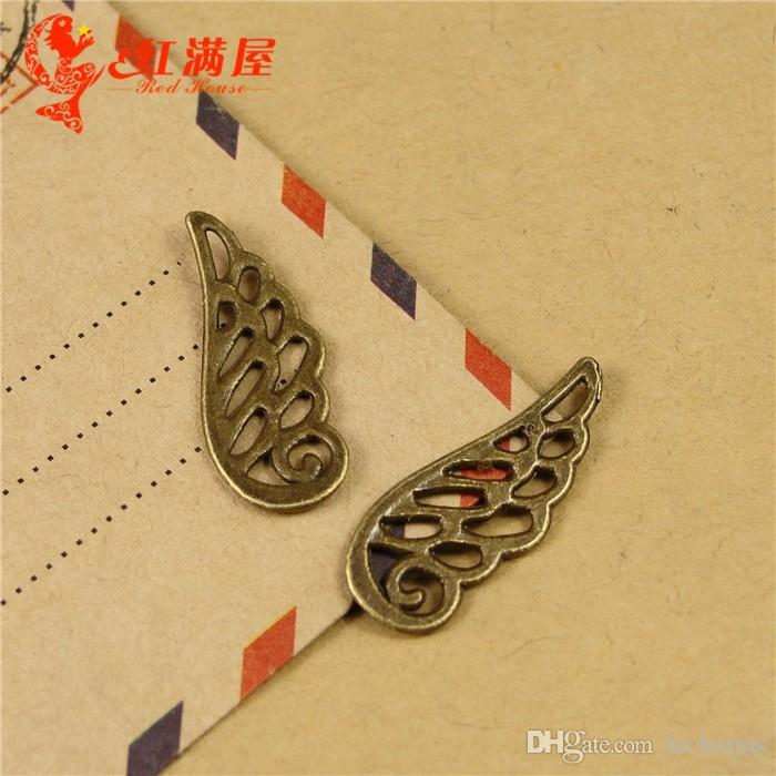 24*9MM Antique Bronze angel wings charms for bracelet, vintage tibetan feather pendants for necklace, jewelry making handmade materials