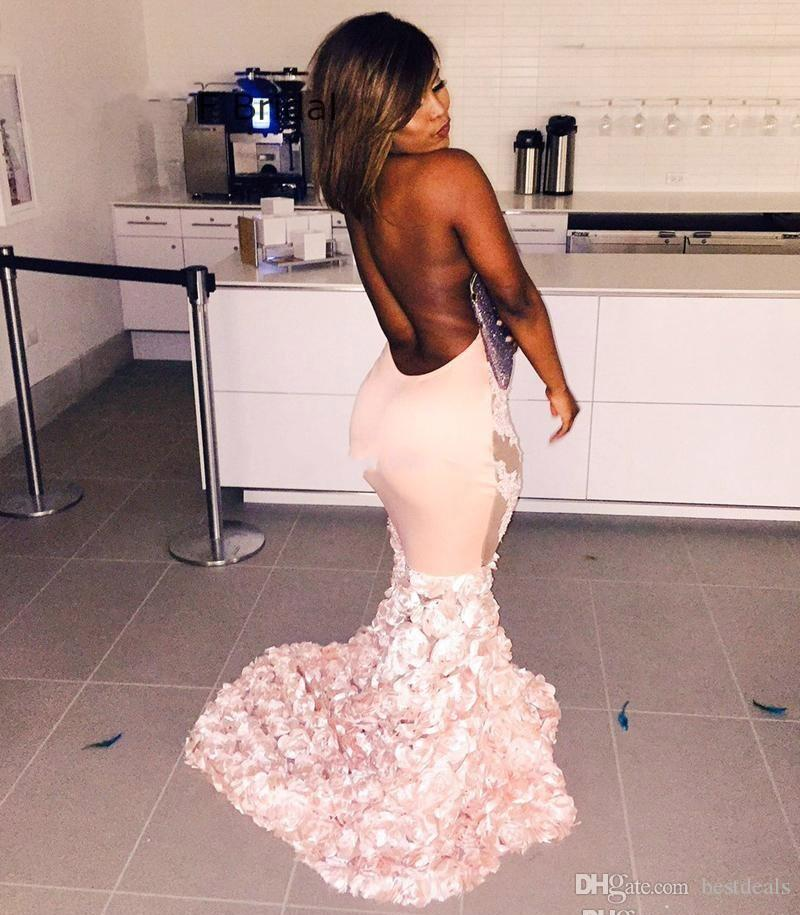 Sexy Backless Mermaid Halter Neck Designer Long Evening Dresses 2017 Luxury Handmade Flowers Prom Dress with Lace Appliques