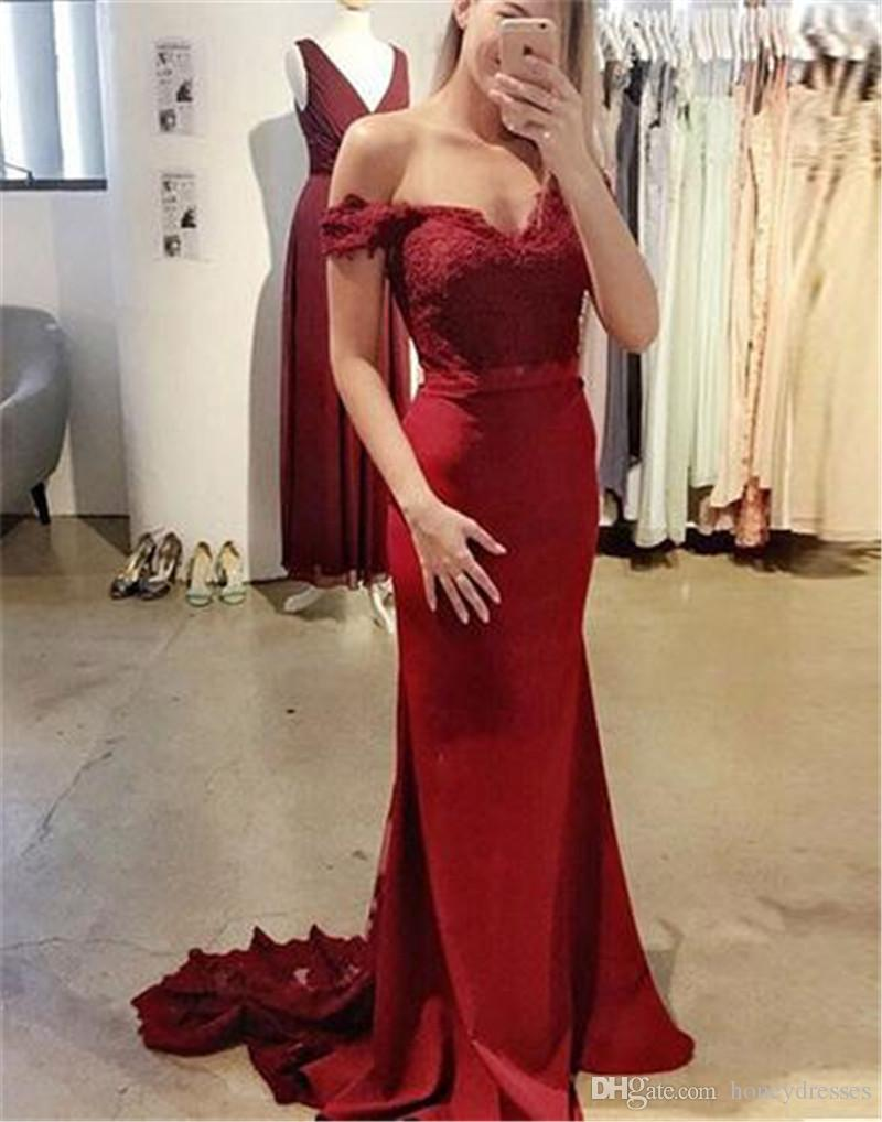 Red Mermaid Prom Dresses 2017 V-Neck Short Sleeve Backless Sweep Train Satin and Lace Ribbons Party Evening Dresses 2018