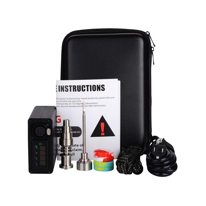 Enail kit electric dab nail portátil dabber rig Titanium Nail E D vaporizador de cera de limpieza PID caja digital para vidrio bong de agua
