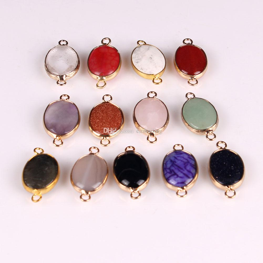 Natural Geode Druzy Gold Plated Bracelets Necklace Pendants Charms Connector