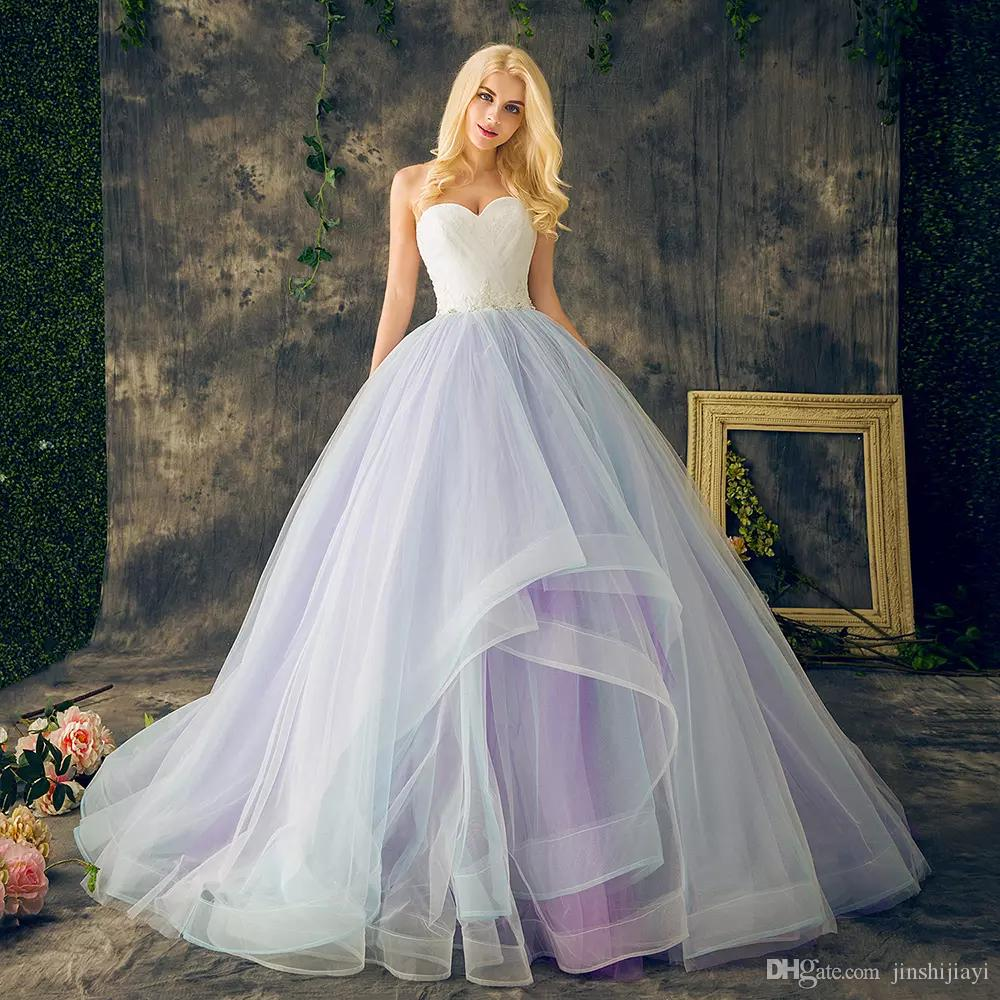 Ball Gown Long Sleeve Beaded Crystal Applique Watteau: New Arrival 2018 Rainbow Ball Gown Prom Dresses Lace