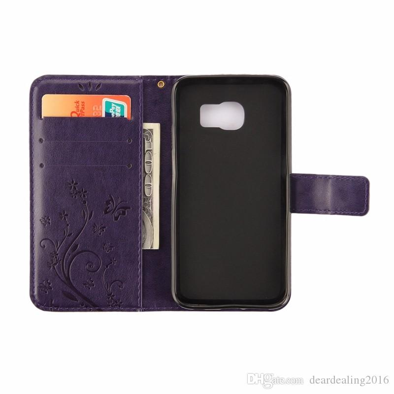 Für Galaxy S6 Ledertasche Geprägte Schmetterlinge Ledertasche für Samsung Galaxy S6 S7 Edge S4 S5 Magnetische Ständer Wallet Flip Cover