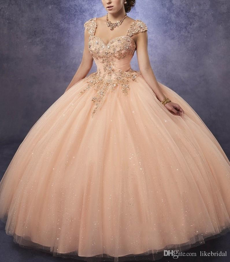 2019 Sparkling Tulle Quinceanera Dresses Ball Gown Sweetheart Neck Line Ruched Bodice With Lace and Beads Detachable Straps Girls Party Gown