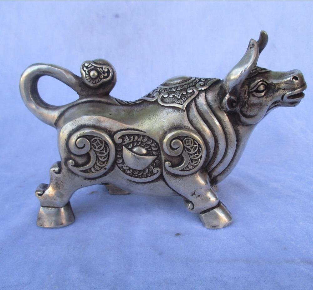 christmas decorations for home+ 6 inch Tibetan silver carved Money Cattle statue/Chinese Folk art Cow Sculpture