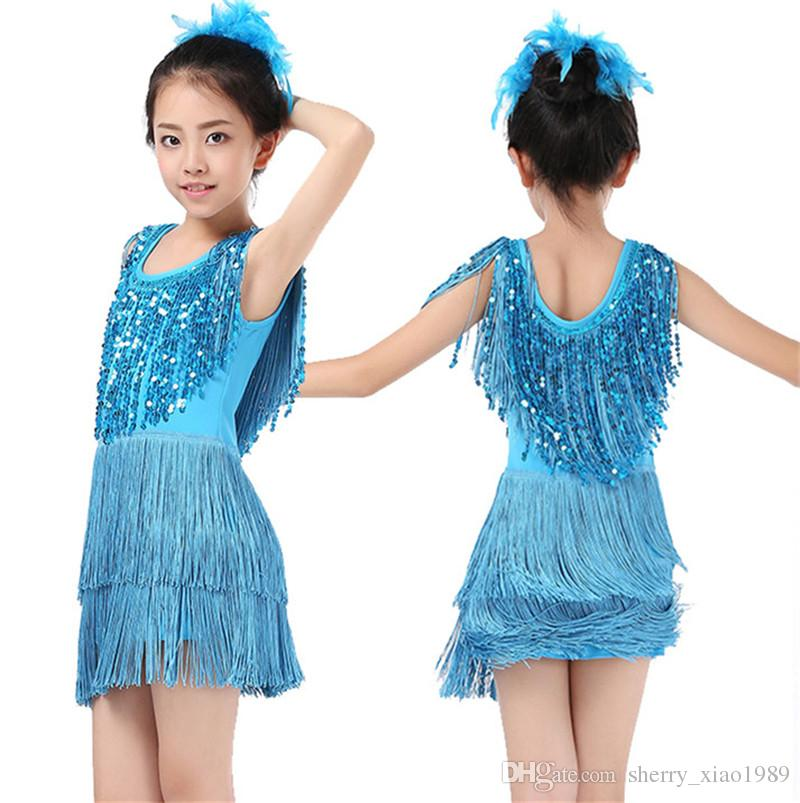 ea4effcb6074 2019 New Children'S Sequin Latin Dance Dress Girls Tassel Rumba Tango Sasa  Samba Ballroom Performance Costume Competition Latin Group 001 From ...