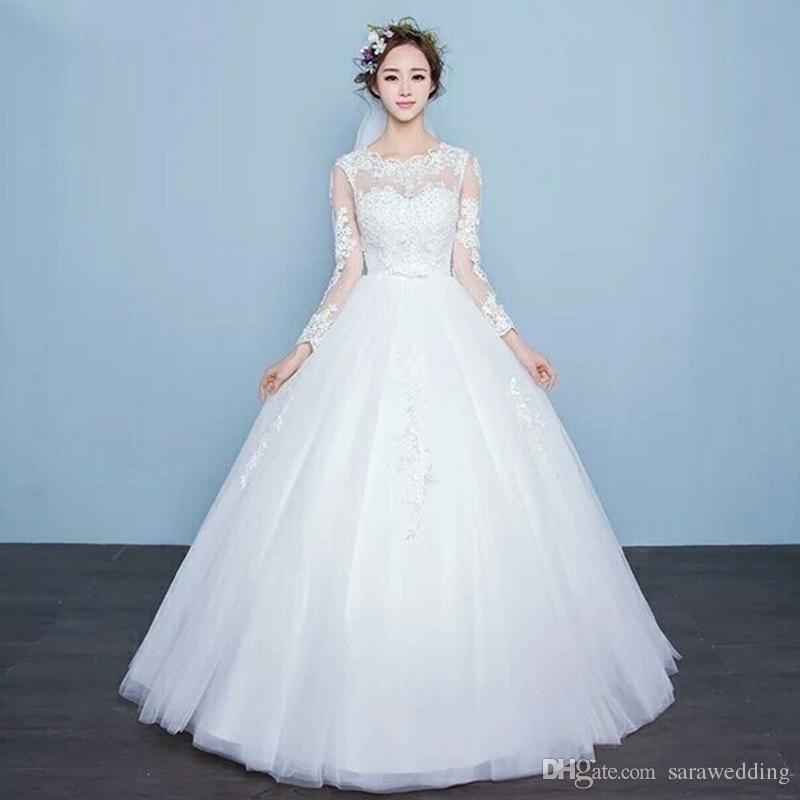 Bateau Neck Tulle Ball Gown Wedding Dress With Lace Appliques Open ...