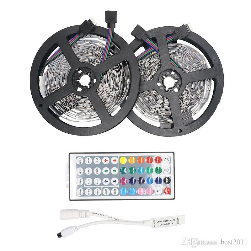 RGB светодиодная полоса света 5050 5M 10M IP20 светодиодный свет RGB светодиодов ленты ленты ленты гибкий мини IR контроллер DC12V адаптер