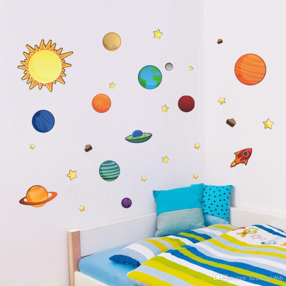 Wall Sticker Creative Solar System Planet Bedroom Backdrop Water