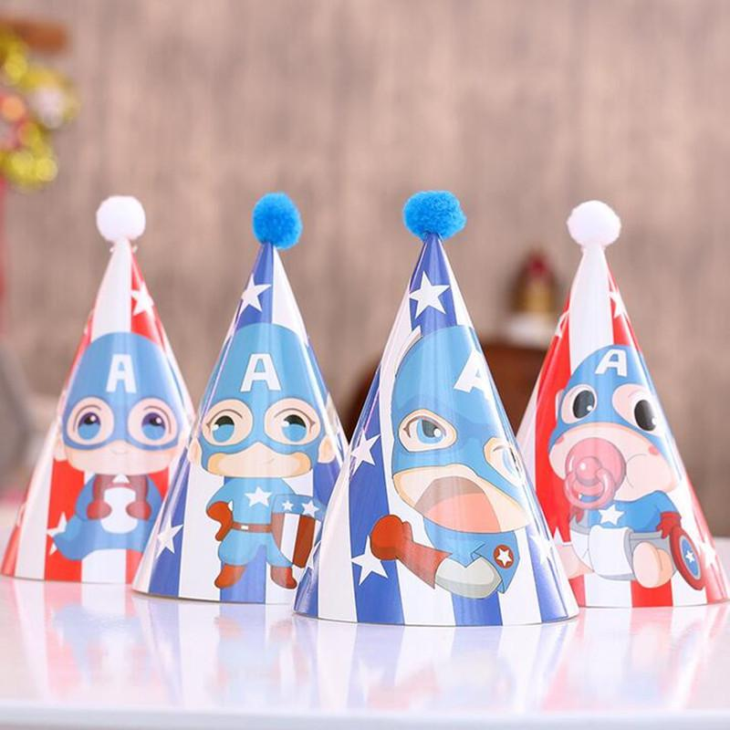 42e28f62293 Fashion Kids Superhero Captain America Birthday Hats Cartoon Theme Party  Hats Birthday Paper Cap Party Decoration Supplies Best Party Supplies Best  Wedding ...