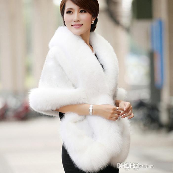 Casaco de Casamento de inverno Nupcial Faux Fur Wraps xales Quentes Outerwear Preto Borgonha Branco Mulheres Estilo Coreano Jaqueta de Festa de Formatura da Noite