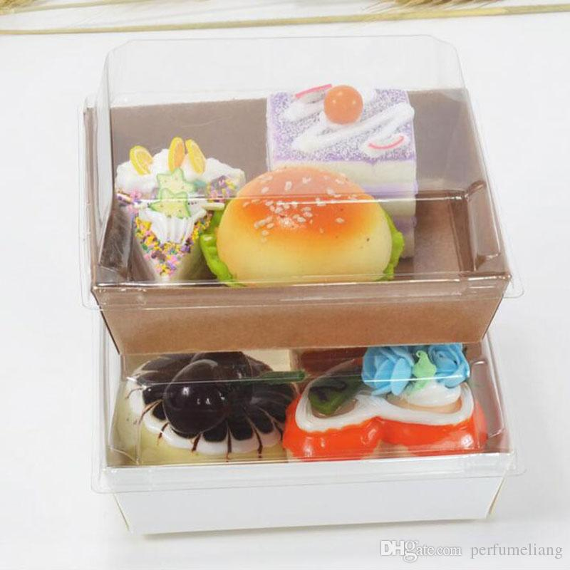 Scatole d'imballaggio della scatola del panino del dessert dell'hot dog del dolce con i coperchi trasparenti Contenitore di regalo di carta del cartone di Kraft ZA3885