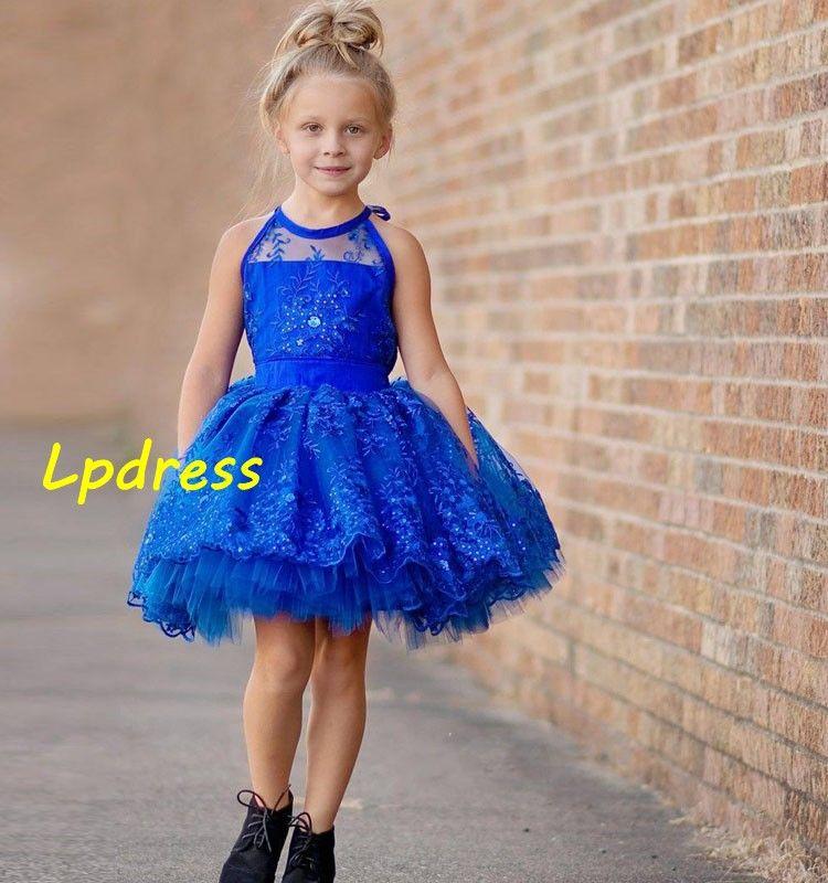 Sparking Girls Pageant Dresses 볼 가운 Flower Girls Dresses Tulle Organza 파티, 웨딩을위한 파란 꽃 걸스 드레스