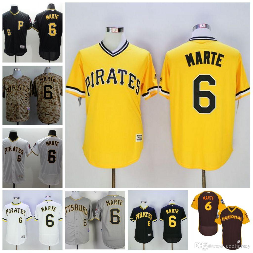 4509224df ... greece jersey majestic 2017 pittsburgh pirates 6 starling marte white  yellow grey black flexbase authentic collection