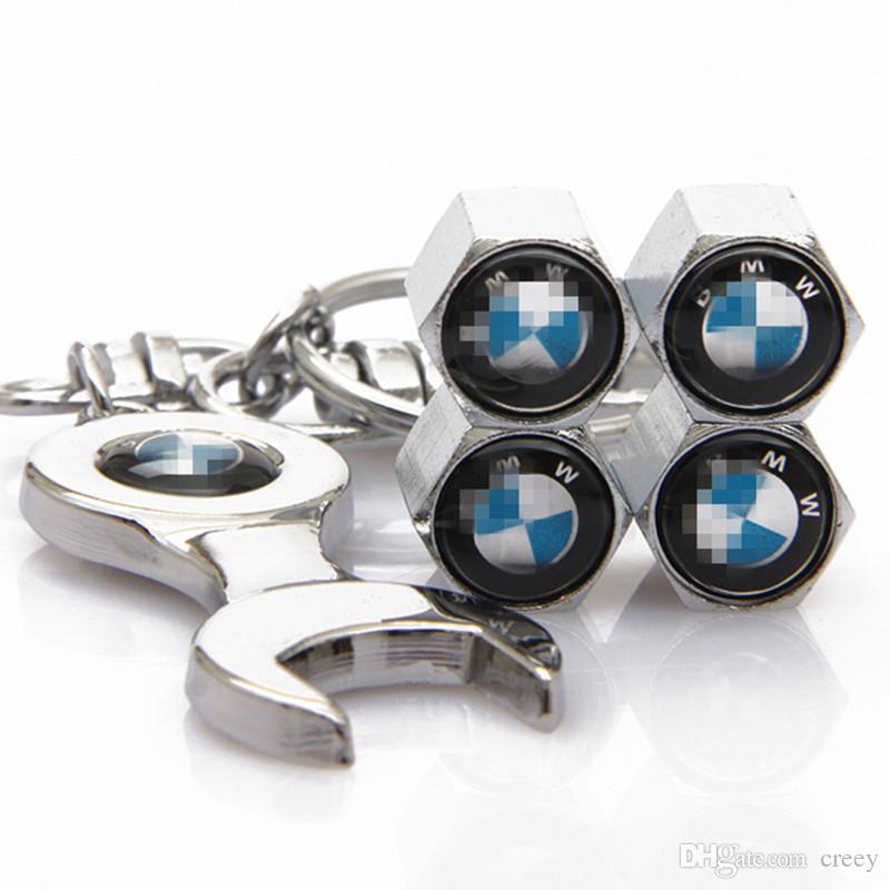 2018 hot fit for BMW 1 3 4 5 6 7 Series M3 M5 X5 X6 X3 Anti Theft Air Valve Dust Caps Covers with Spanner Key Ring Chain caps