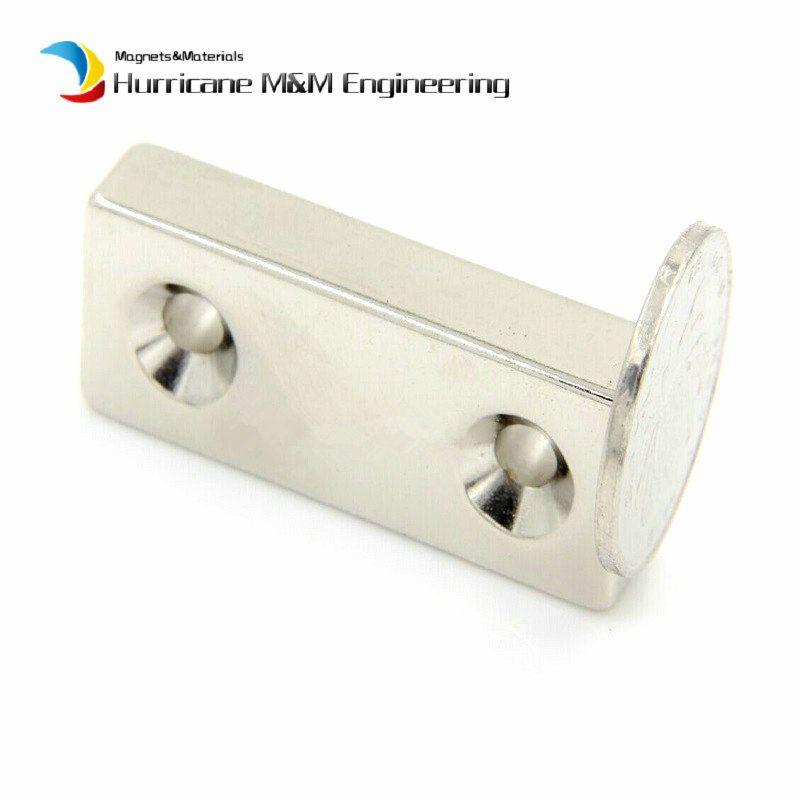 NdFeB Fix Magnet 50x20x5mm with 2 M5 Screw Countersunk Holes Block N42 Neodymium Rare Earth Permanent Magnet