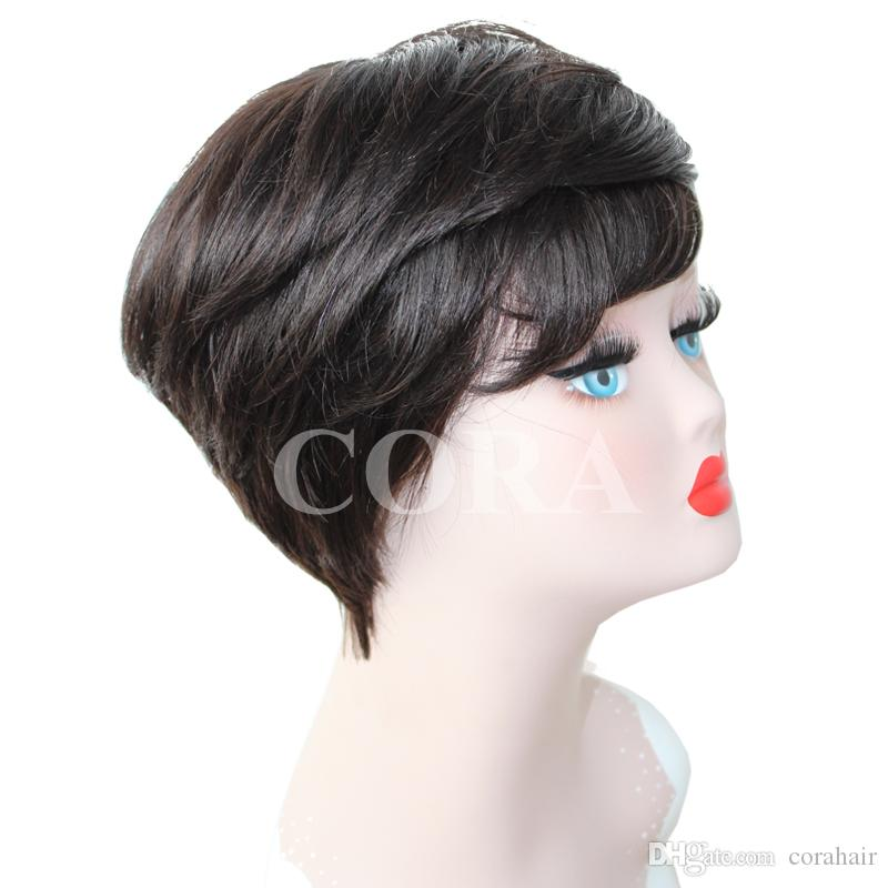 Curto corte preto para as mulheres negras livremente fazendo textura Pixie corte macio e bem as perucas de qualidade rainha