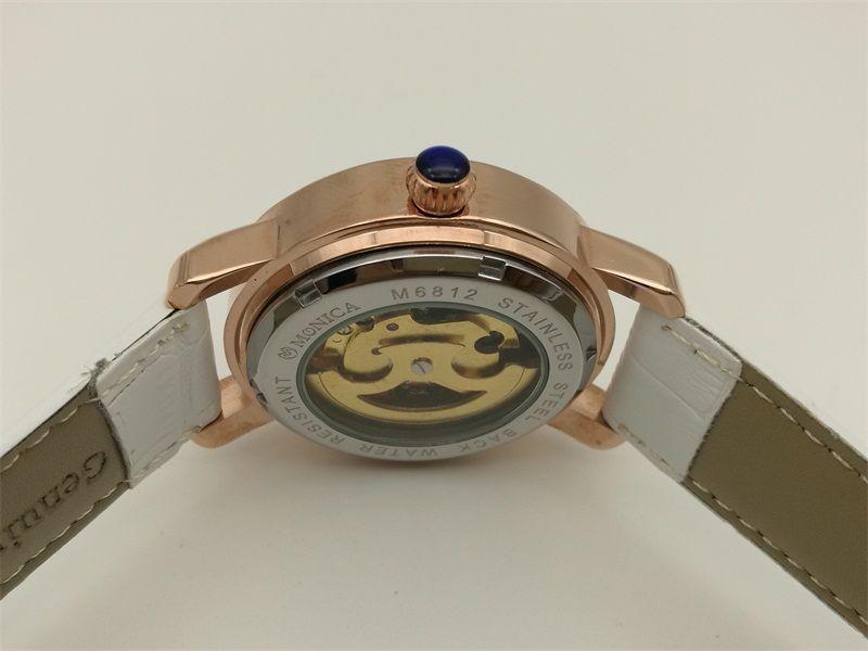 Vendas Direto Da fábricaMechanical Relógios de Marca Vencedor da Mulher Relógio de Moda Automático À Prova D 'Água Pulseira De Couro Branco Rose Gold Butterfly Watch