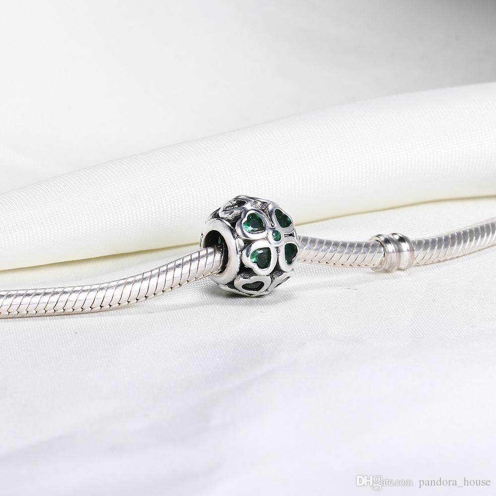 Gros Real 925 Sterling Silver Non Plaqué Trèfle À Quatre Feuille Européen Charmes Perles Fit Pandora Serpent Chaîne Bracelet DIY Bijoux