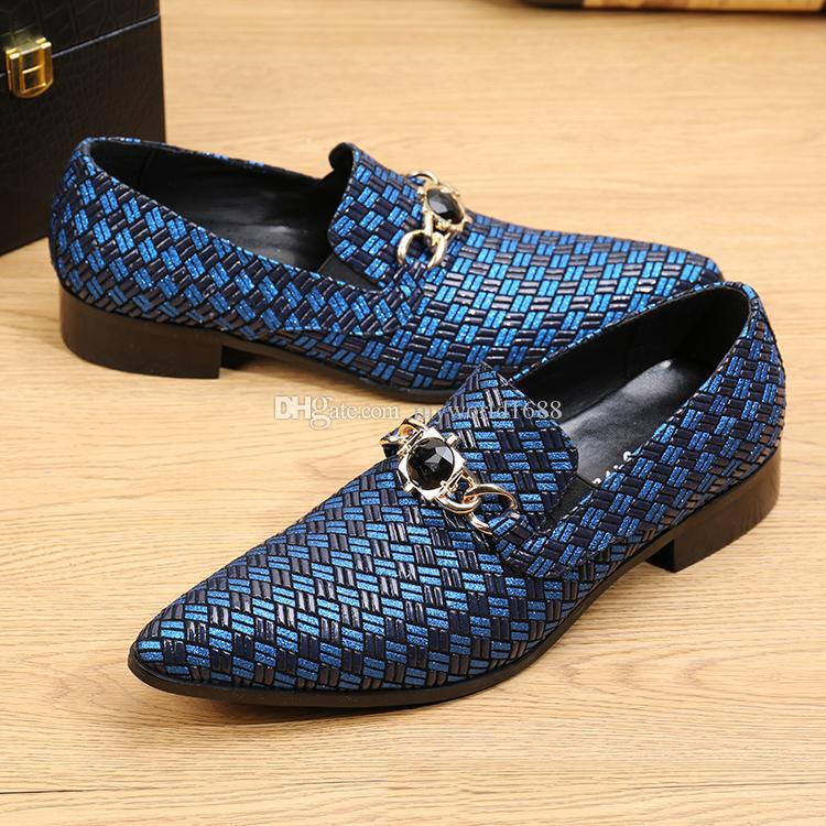 Italian Style Men Dress Shoes Casual Fashion Designer Genuine Business Woven Leather Shoes Men Flats Male Foot Wear Wedding shoe