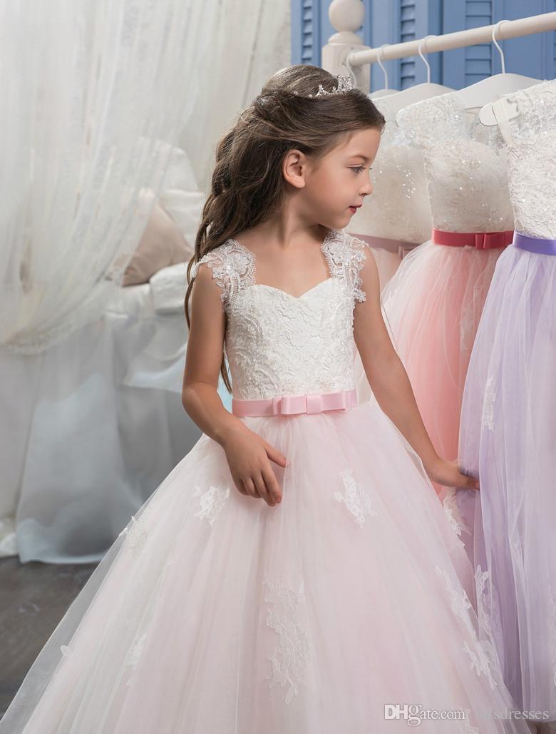 2017 Yeni Prenses Fildişi Pembe Balo Çiçek Kız Elbise Florr Uzunluk Kızlar İlk Communion Elbise Kız Dantel Düğün Parti Elbiseler
