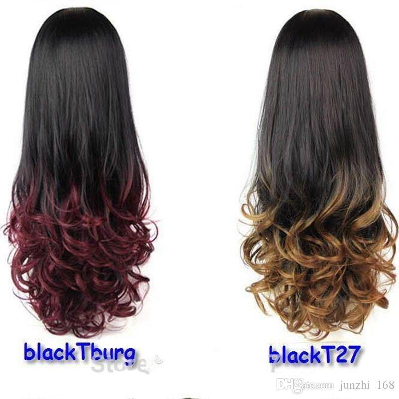 ホットオムレウィッグヘアフールディップ染料ハーフウィッグカーリーヘアウィッグ2トーングラデーション2色の合成ウィッグカラーフリーシップピン