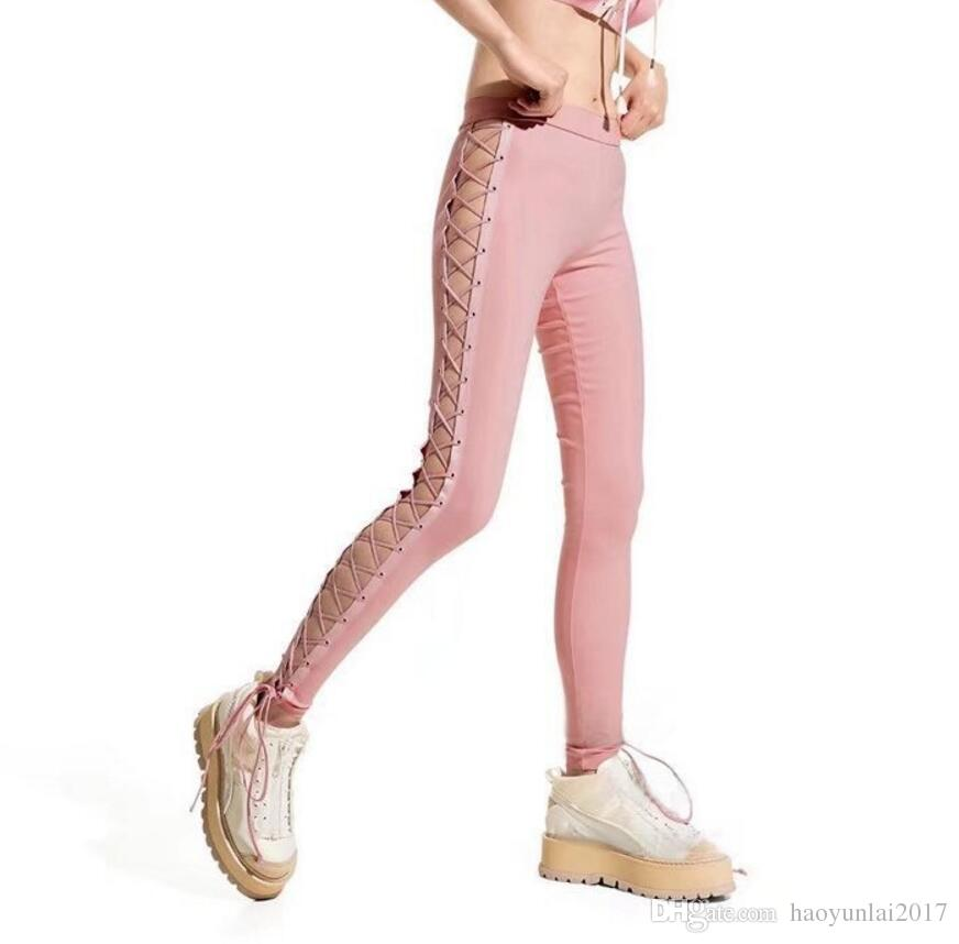fdf413a570 2019 Women Side Lace Up Hollow Out Pencil Tight Pants Sexy Cross Bandage  Trousers Street Rock Black Slim Skinny Jeans Slim Pants From Haoyunlai2017