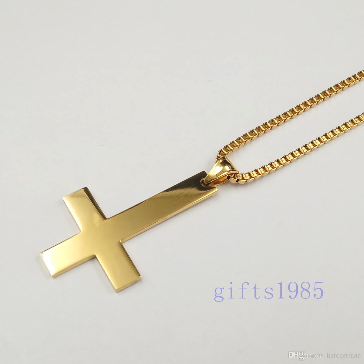 Cruz de São Pedro Upside Down Cruz de Aço Inoxidável charme dourado Pingente de colar de 30 polegadas caixa de presente dos homens