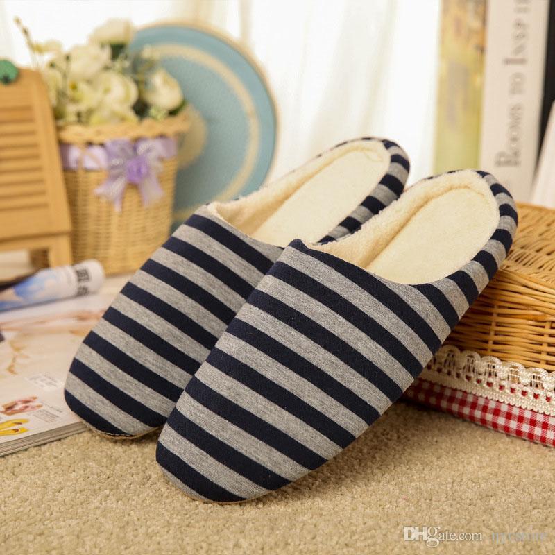 Femmes Hiver Chaud Pantoufles Plancher Intérieur Chaussures Non-slip Maison Chaussures Rayé Pantoufles Hommes
