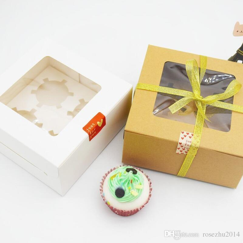 4 Holes Cavities White Paper Box Muffin Box Cupcake Packaging Box With Bottom Bracket Pudding Pastry Wedding Favor. 16x16x7.5cm