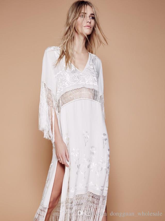 UK Europe 2018 Summer Women oversized Ethnic tassels Embroidery Loose Bohemian dress Hippie Boho People Robe Long dress Vesdido