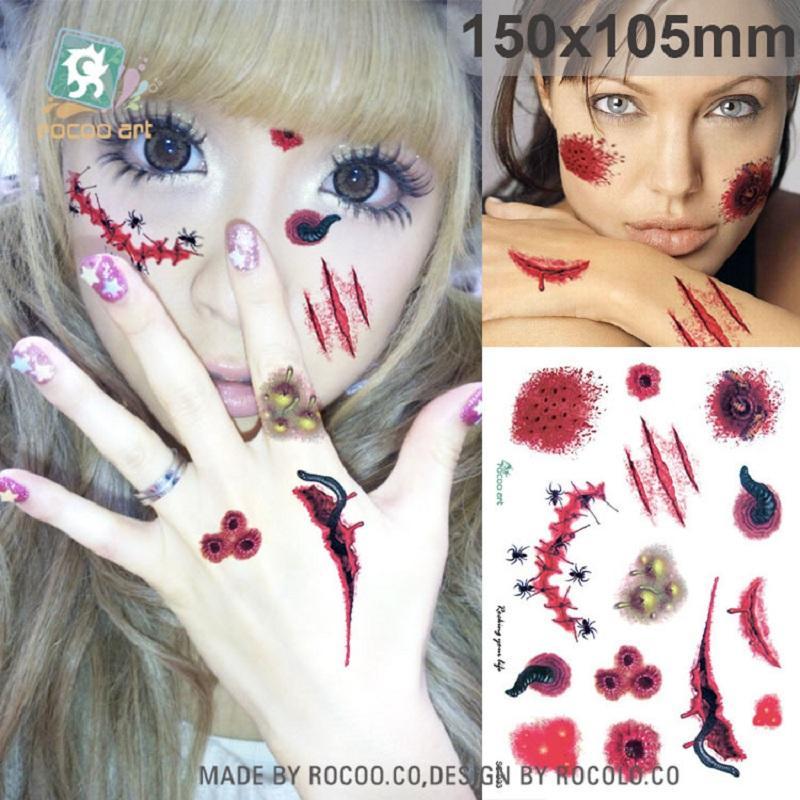 15 * 10,5 cm Temporäre gefälschte tattoos Wasserdichte tattoo aufkleber body art Malerei für party dekoration etc gemischt spinne Halloween unheimlich