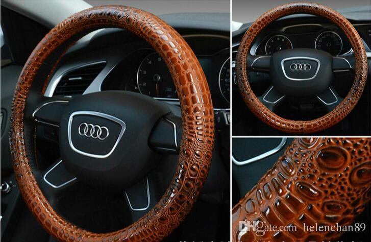 Cubierta de volante de coche de cuero de grano de cocodrilo de lujo de 38 cm cubierta de volante deportiva de moda universal para accesorios de automóviles