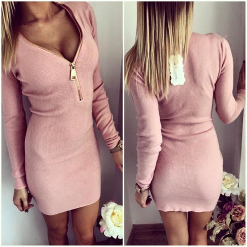 Women Sexy Club Dress In Spring Plus Size Dresses Long Sleeve V Neck Zippers Cotton Solid Pink Gray Pencil Apparel For Ladies