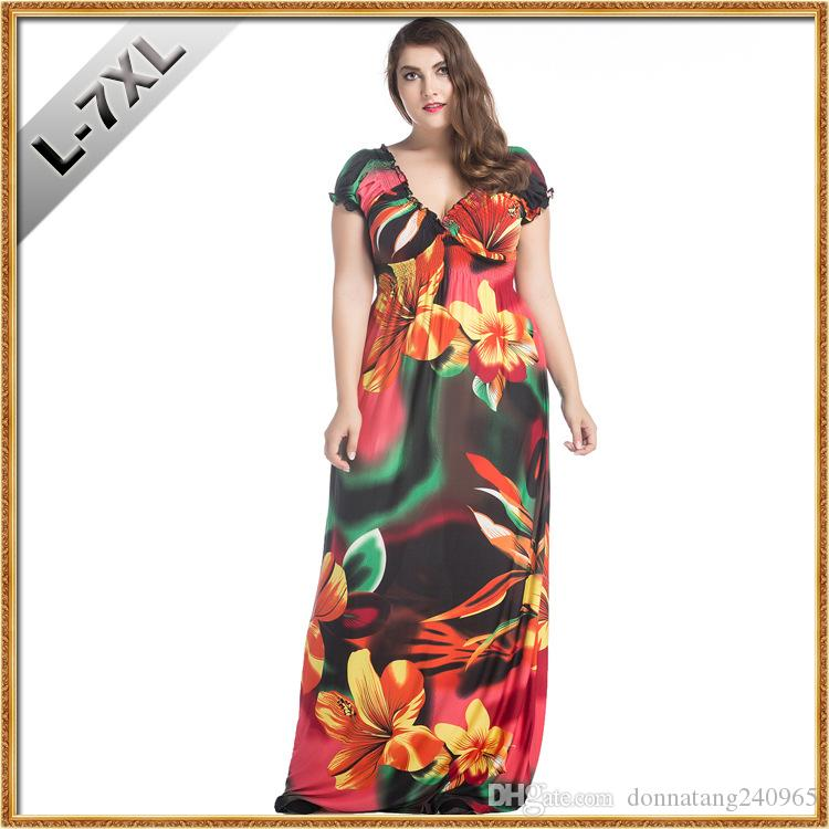 9be914024ee5d 2019 2017 Hot Sale Fashion Plus Size Maxi Dress Fat Women Summer Bohemian  Casual Ice Silk Beach Dresses Big Size 6XL Vestidos From Donnatang240965,  ...