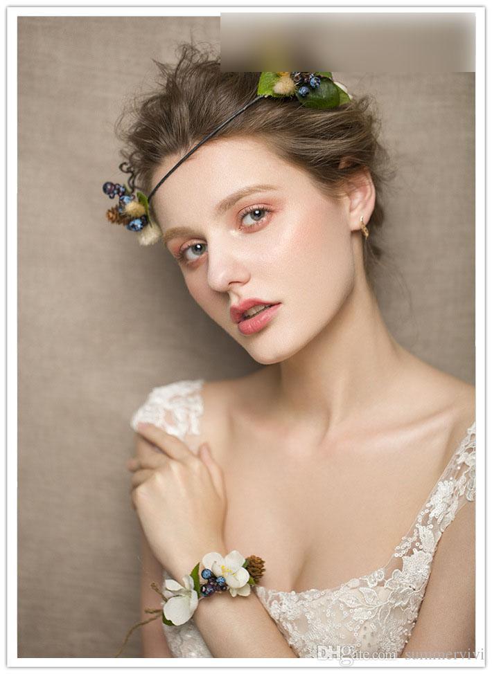 Girls Hair Accessories Daisy Bridal Wedding Garlands Bracelet Sets Kids Flowers Photography Hairband Headwears C2003 Flower