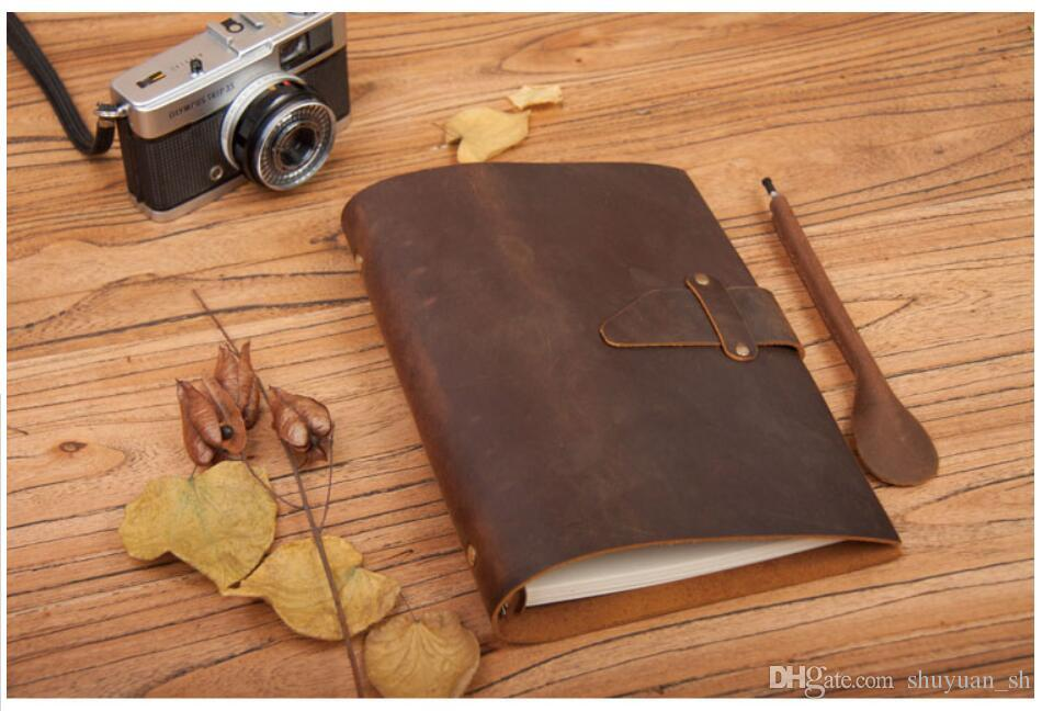 LY-NB02 A5 handmade vintage antique genuine leather Loose-leaf notebook replaceable inserts notepads diary planner journal