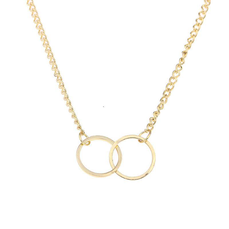 New Gold Two Cross Círculo Pingente de Colar Mão Carimbada Serpente Cadeia Colar Presentes Para As Mulheres Meninas de Jóias Por Atacado