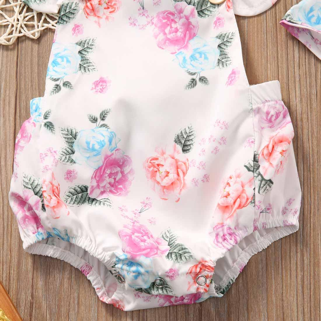 abd4bff896ff Wholesale- Floral Baby Romper Clothes Set 2017 Summer Newborn Baby Girl  Ruffled Sleeve Bodysuit Jumpsuit + Headband 2pcs Outfit Sunsuit